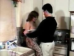 Horny pregnant milf sucks strong cock on kitchen