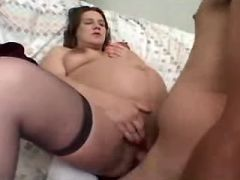 Pregnant brunette with big tits fucks with man