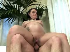 Pregnant mom sucks cock and rides him
