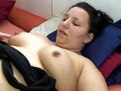 Pregnant fatty greedily sucks hard cock