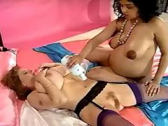 Lesbian with huge melons caress pregnant hottie