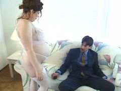 Nice pregnant secretary sucks hard dick of boss