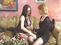 Lesbian girl licks pregnant cutie in stockings