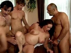 Guys share pregnant brunette girl in gangbang