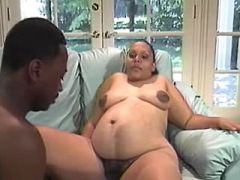 Pregnant ebony woman fucked by black guy on floor