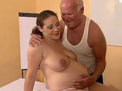 Pregnant curly cutie licked and fucked by old man
