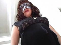 Pregnant woman in mask seduces man