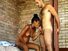 Pregnant ebony jumps on dick of horny man outdoor