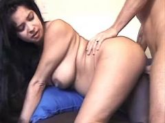Man hard fucks lustful latin pregnant babe on sofa
