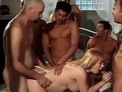 Pregnant lady gets numerous cum in hard gangbang