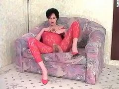 Cute sexual pregnant babe masturbates in chair