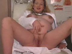 Depraved pregnant nurse masturbates with dildo