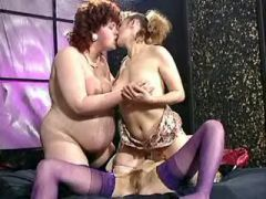 Curly fat preggo relaxes with sluts in lesbo orgy