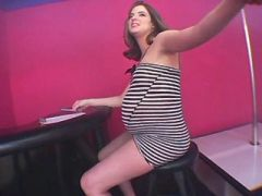 Preggo beautiful girl dances and sucks fat cock