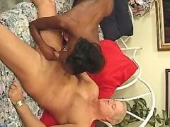 Pregnant ebony sucks cock and fucks with white man