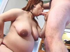 Ethnic pregnant chick deep throats cock of man