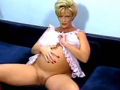 Pregnant blonde licked by spoiled man on sofa