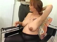Hot redhead preggo with big belly sucks fat cock