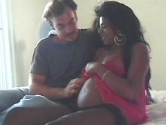 Hot pregnant ebony in stockings spoils white man