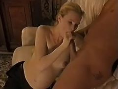 Pregnant blonde gets cum in mouth after blowjob