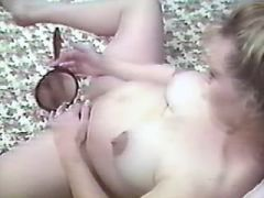 Pregnant blonde lady plays with her juicy pussy
