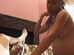 Black pregnant girl gets lavish cumload on belly
