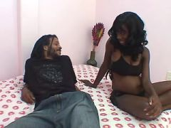 Pregnant teen blackie sucks hard cock and fucks