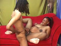 Black pregnant hottie gets cumload after fuck