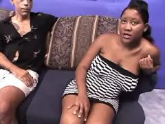 Pregnant ebony girl serves two men in groupsex