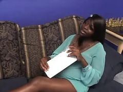 Pregnant ebony greedily sucks hard cock on sofa