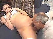 Hot pregnant girl licked by old man