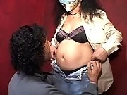 Pregnant mature in mask spoils man