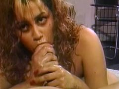 Curly pregnant babe fucks and gets cum in mouth