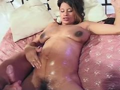 Hot pregnant ebony gets cum on tits after wild sex