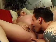 Lusty pregnant plumper gets cumload in deep throat